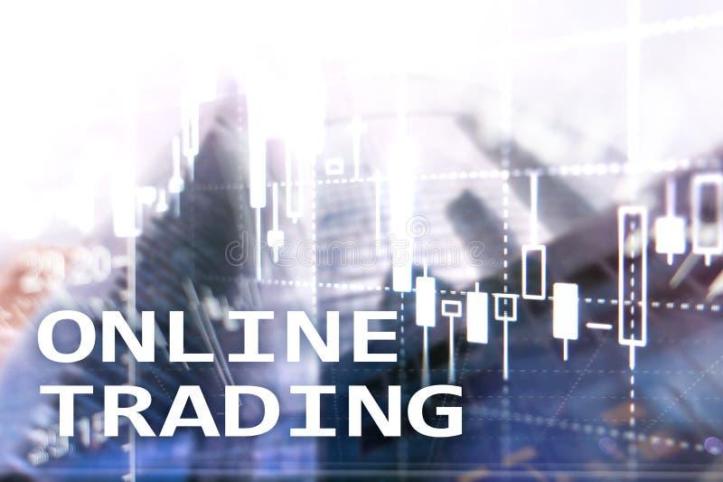 Onlinehandel, DEVISEN, Investitionskonzept auf unscharfem Geschäftszentrumhintergrund lizenzfreies stockbild