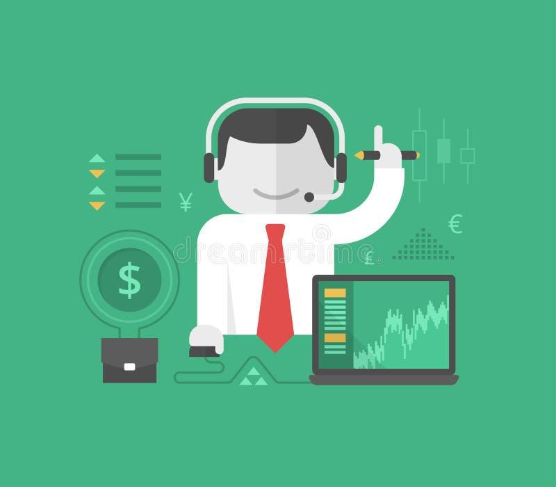 Onlinehandel und Investierung lizenzfreie abbildung