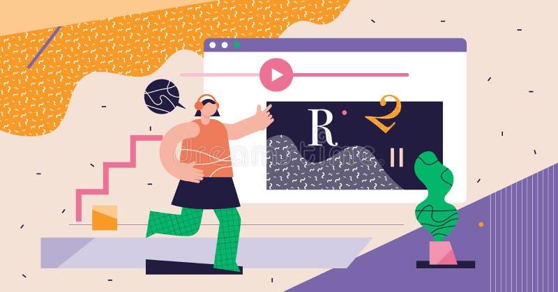 Onlinekurser modern abstrakt konceptvektor för cyberrymdsvektor royaltyfri illustrationer