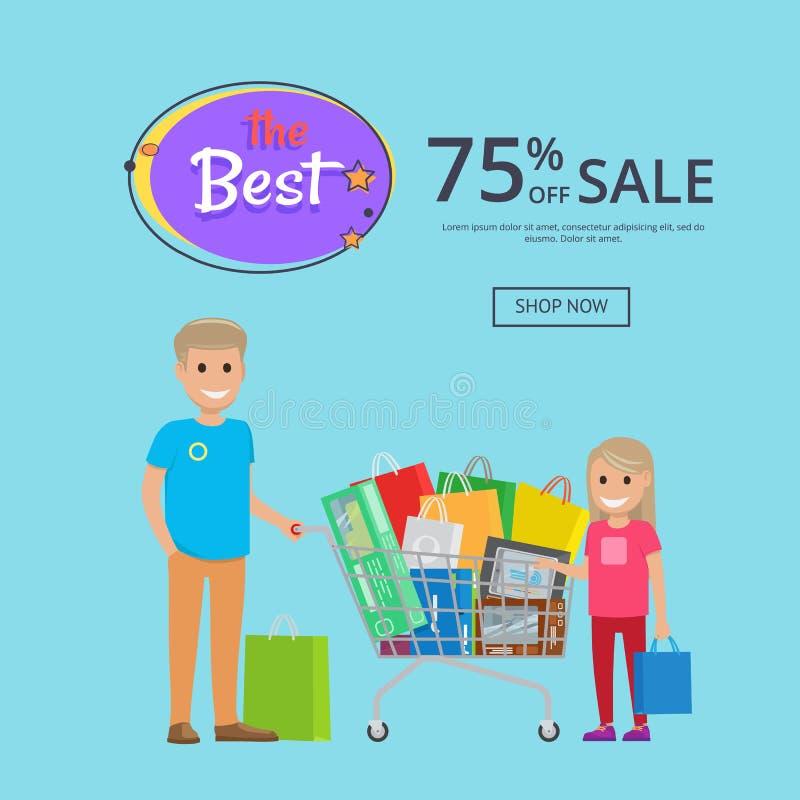 OnlineShopping海报的最佳的销售75与文本 库存例证