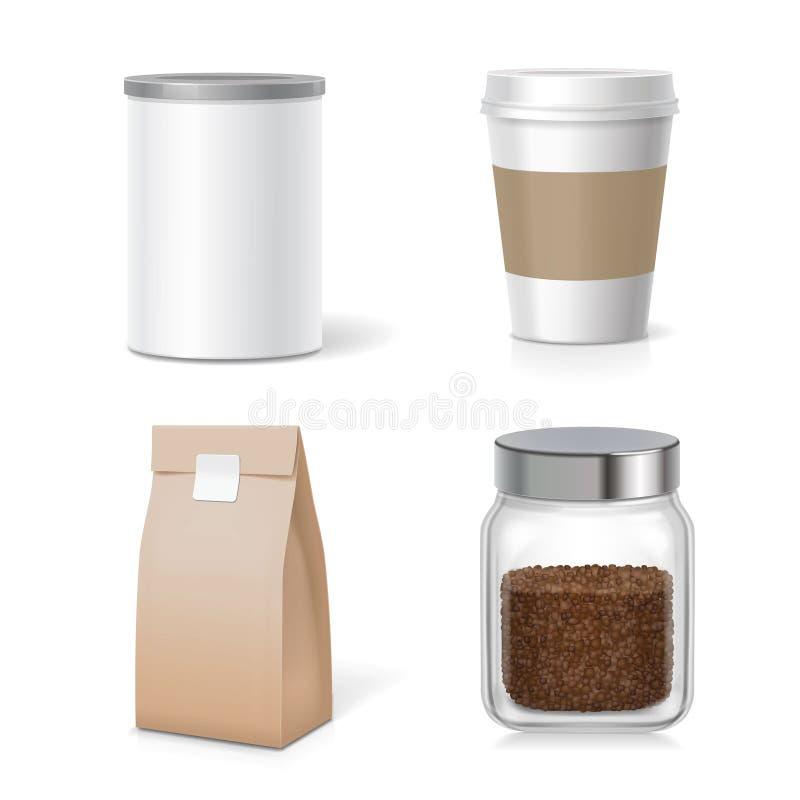 Onmiddellijke koffieglas en plastic het pak van kruikenkappen verpakkingsinzameling stock illustratie