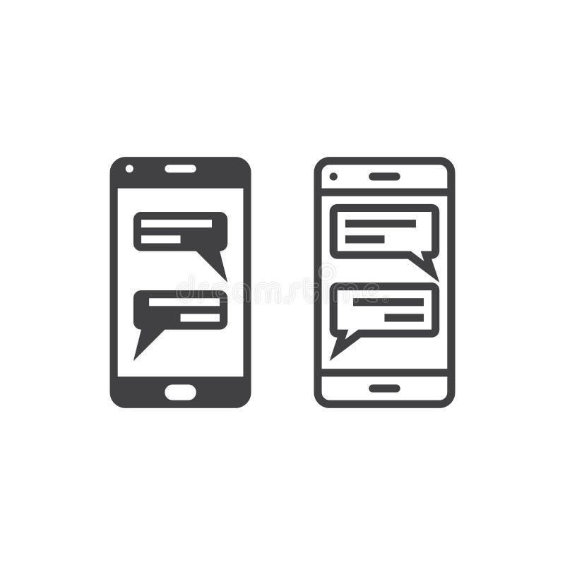 Onmiddellijke overseinencliënt voor het pictogram, het overzicht en s van de smartphonelijn royalty-vrije illustratie
