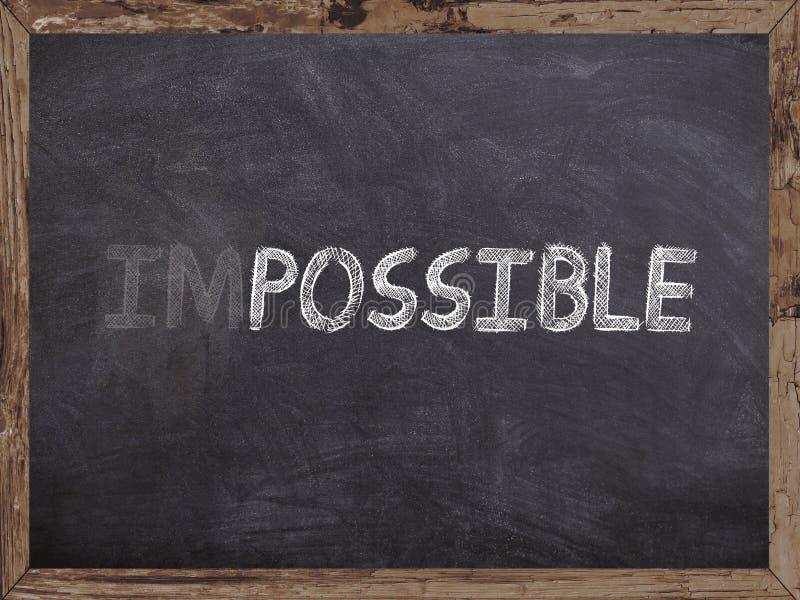 Onmogelijk wis in mogelijk writed op een bord met houten stock illustratie