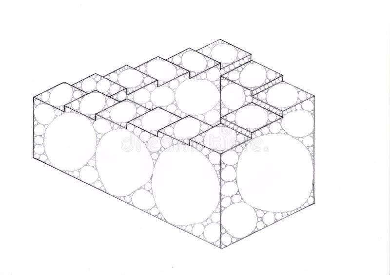 Onmogelijke die trap met ellipsen en cirkels wordt gevuld stock illustratie