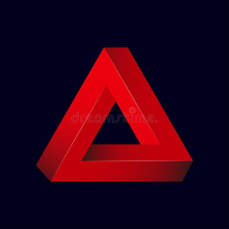 Onmogelijke Driehoek Optische illusie driehoekige vorm 3d abstract cijfer voor modern ontwerpembleem Vector stock illustratie
