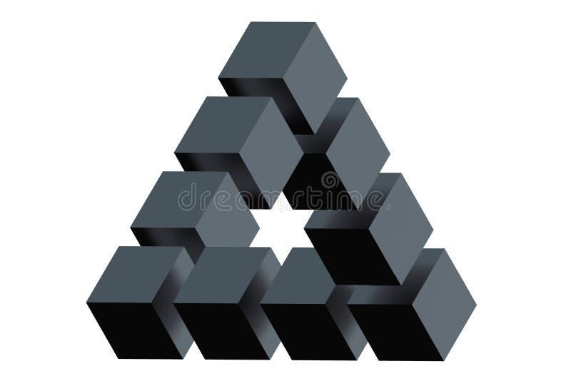 Onmogelijke Driehoeksoptische illusie stock illustratie