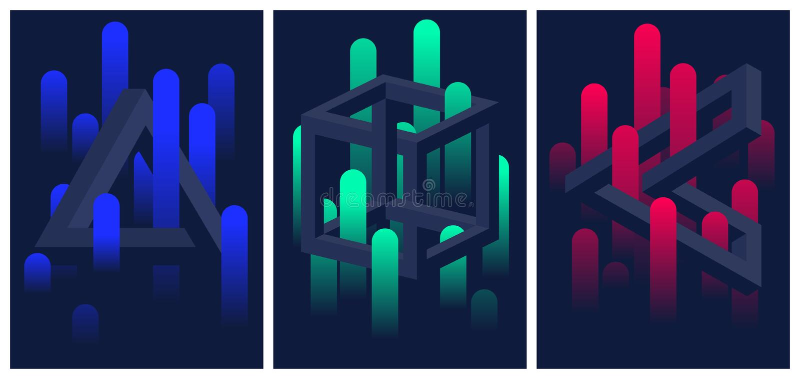 Onmogelijke geometrische vormen en kleurengradiëntlijnen, reeks vliegers en brochures, optische illusie vector abstracte achterg stock illustratie