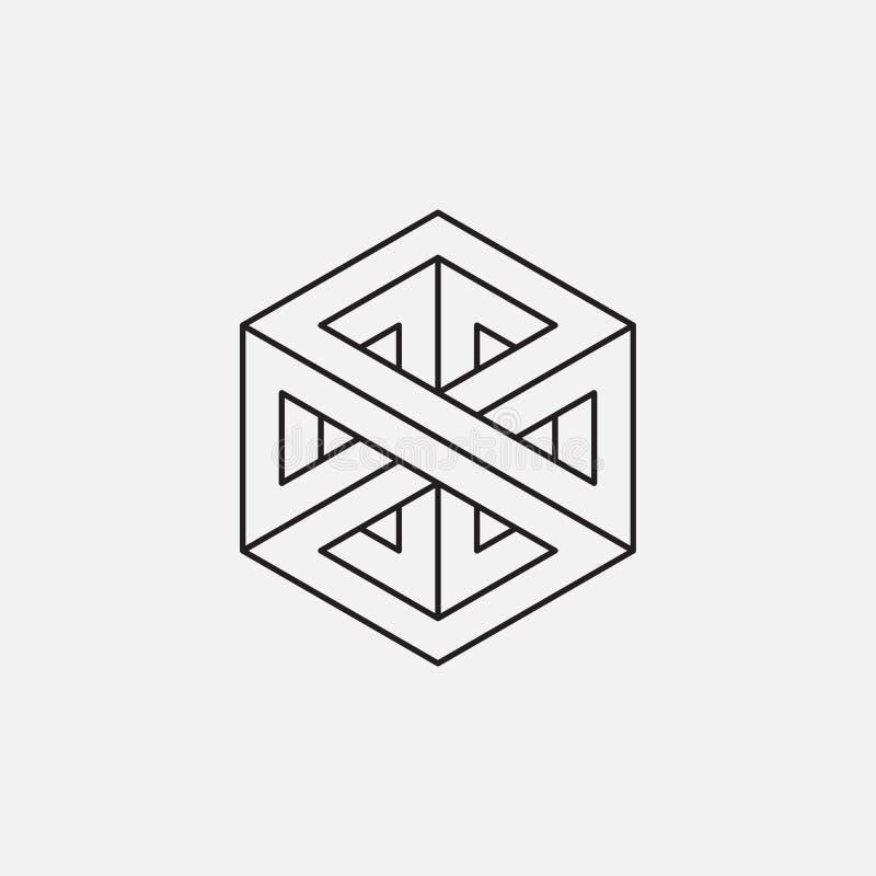 Onmogelijke kubus Het Ontwerp van de lijn stock illustratie