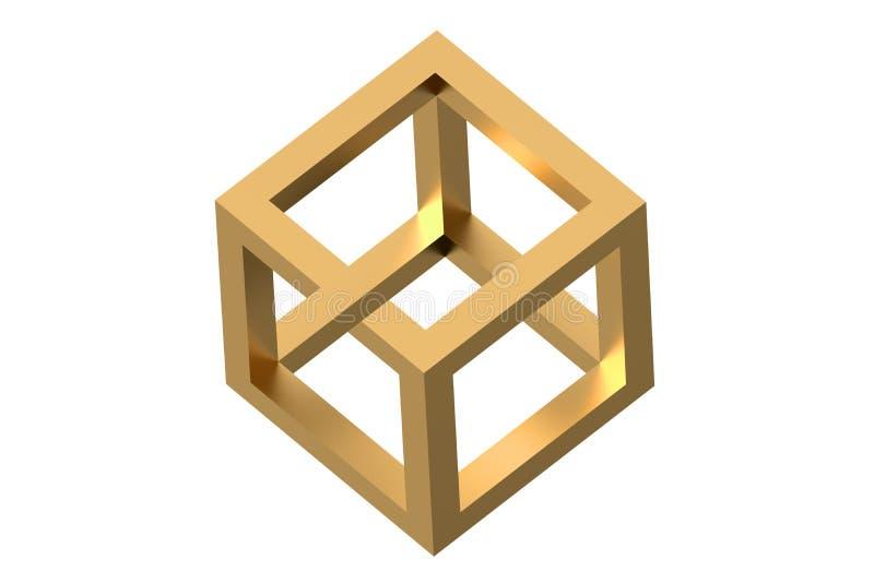 Onmogelijke kubusoptische illusie stock illustratie