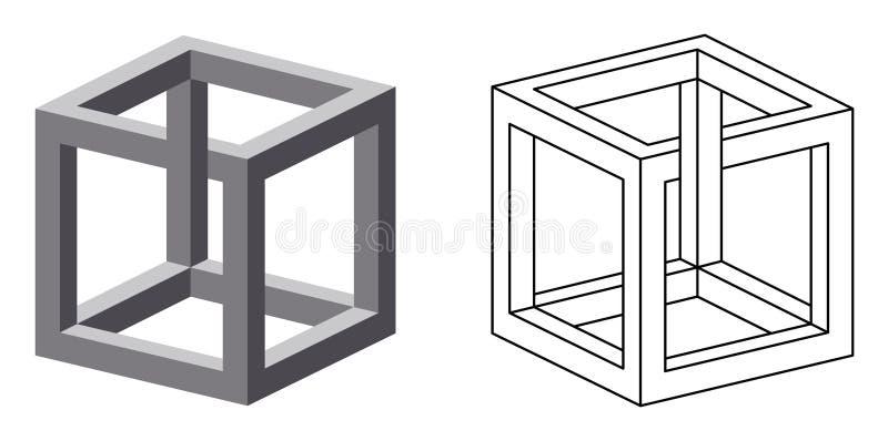 Onmogelijke kubusoptische illusie royalty-vrije illustratie