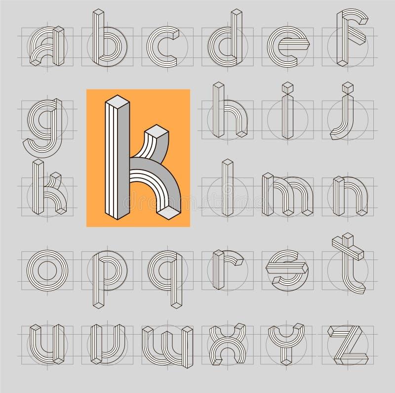 Onmogelijke retro lijn 3D Doopvont ABC vector illustratie