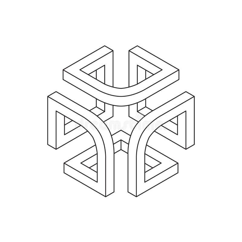 Onmogelijke vorm, kubus vector illustratie