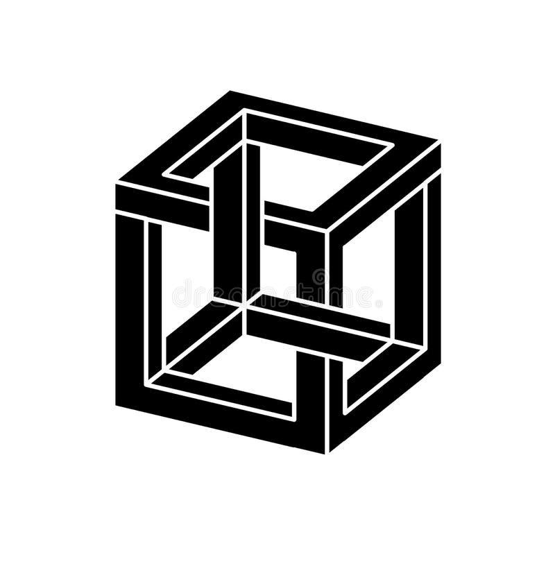 Onmogelijke vormen Optische illusie Vectordieillustratie op wit wordt geïsoleerd Heilige Meetkunde Zwarte vormen op een wit stock illustratie