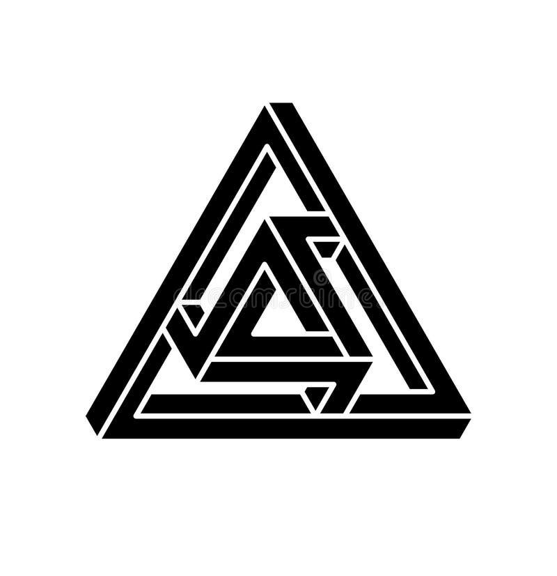 Onmogelijke vormen Optische illusie Vectordieillustratie op wit wordt geïsoleerd Heilige Meetkunde Zwarte vormen op een wit royalty-vrije illustratie
