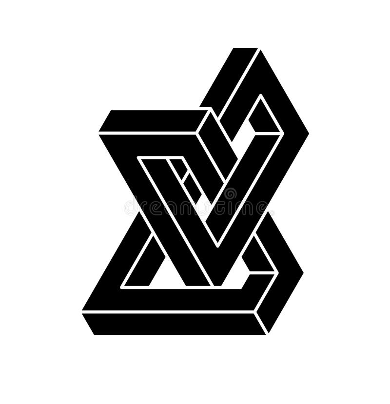 Onmogelijke vormen Optische illusie Vectordieillustratie op wit wordt geïsoleerd Heilige Meetkunde Zwarte vormen op een witte ach stock illustratie