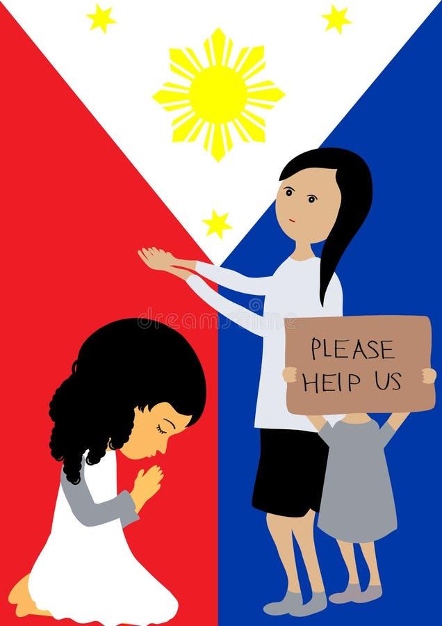 Ono modli się dla Filipiny ilustracja wektor
