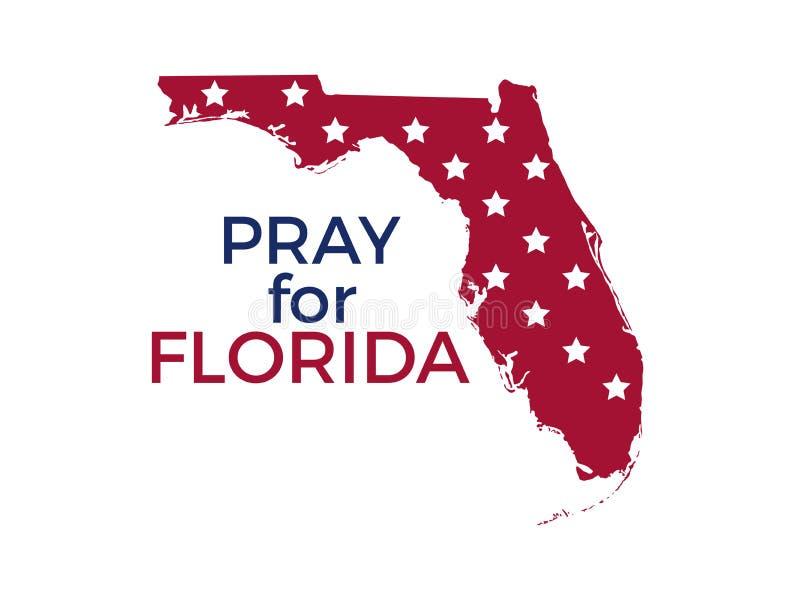 Ono modli się dla Floryda Huraganowy Irma, katastrofa naturalna wektor ilustracji