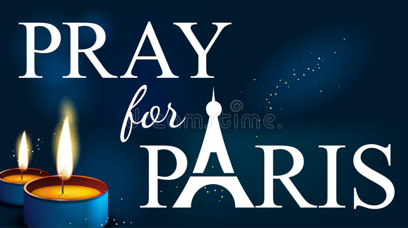 Ono modli się dla Paris, Abstrakcjonistyczny tło, sylwetka ilustracja wektor