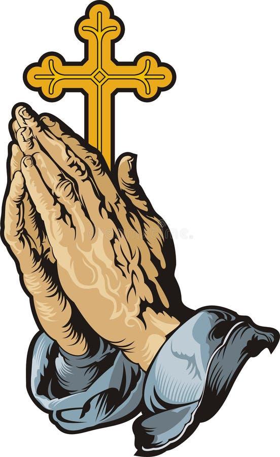 Ono modli si? r?ki z krzy?em royalty ilustracja