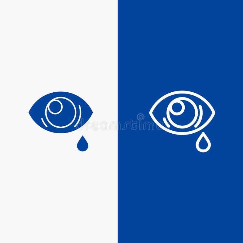 Ono przygląda się, Opaść, ono Przygląda się, Smutnej linii, glifu Stałej ikony sztandaru glifu i i linii Błękitnej ikony błękita  ilustracja wektor