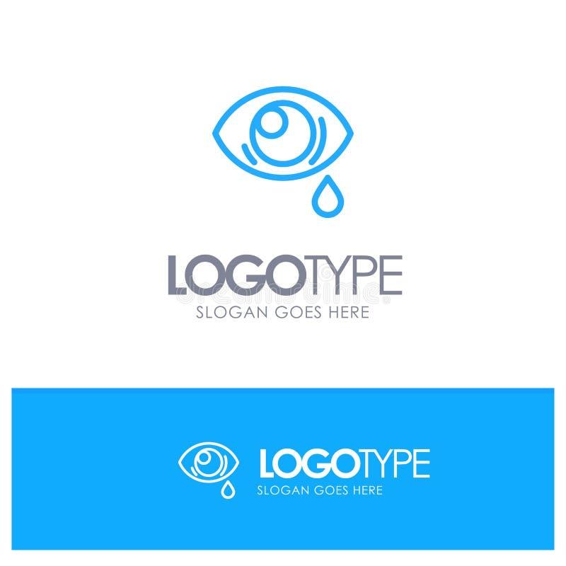 Ono przygląda się, Opaść, ono Przygląda się, Smutny Błękitny konturu logo z miejscem dla tagline royalty ilustracja