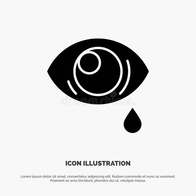 Ono przygląda się, Opaść, ono Przygląda się, Smutny stały glif ikony wektor royalty ilustracja