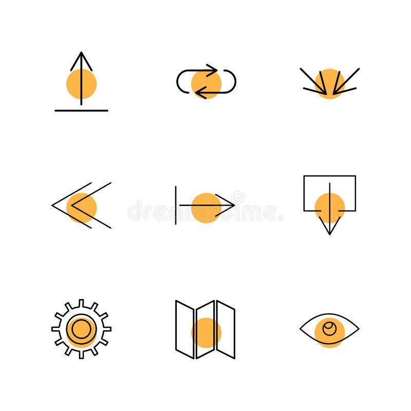 ono przygląda się, przygotowywa, mapy, strzała, kierunki, avatar, ściąganie, w górę ilustracja wektor