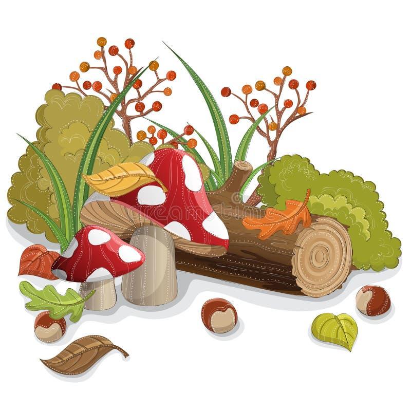 Ono rozrasta się z jesień liściem, notuje, i rośliny ilustracja wektor