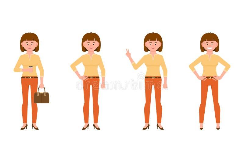 Ono uśmiecha się, życzliwy, brąz włosiana młoda biurowa kobieta w pomarańcze dyszy wektorową ilustrację ilustracji
