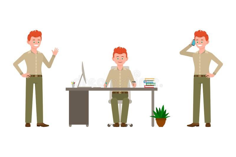 Ono uśmiecha się, rozochocona, czerwona włosiana biurowa mężczyzny wektoru ilustracja, Machać cześć, siedzi, biurko, pisać na tel ilustracji