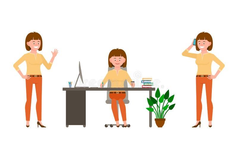 Ono uśmiecha się, rozochocony, brąz włosiana biurowa kobieta w pomarańcze dyszy wektorową ilustrację royalty ilustracja