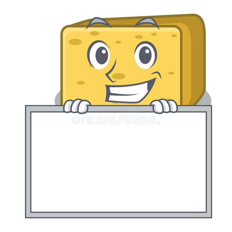 Ono uśmiecha się szeroko z deskową gouda sera charakteru kreskówką royalty ilustracja
