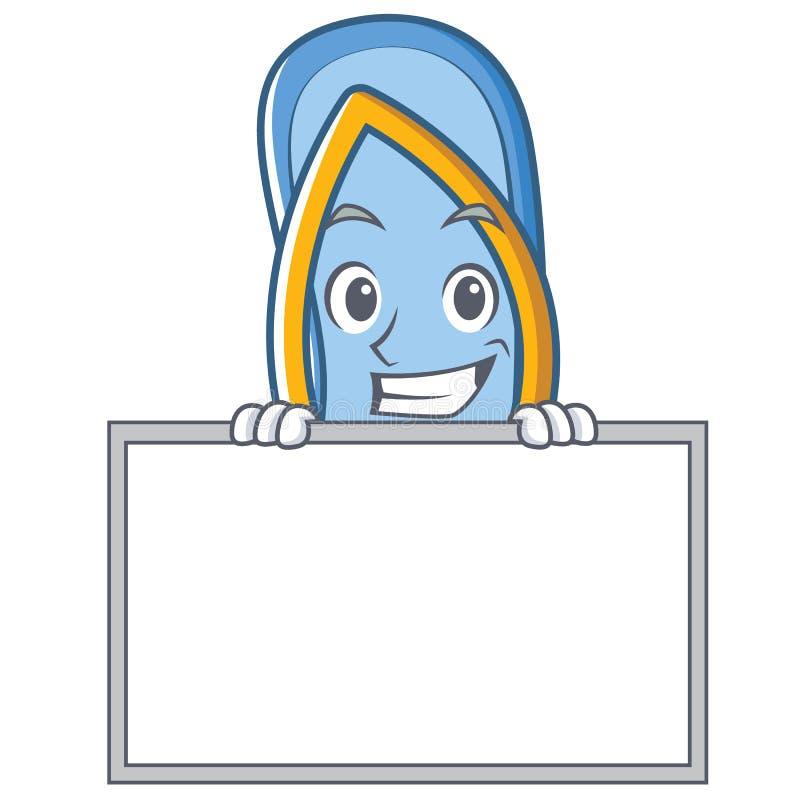 Ono uśmiecha się szeroko z deskową trzepnięcie klap charakteru kreskówką royalty ilustracja