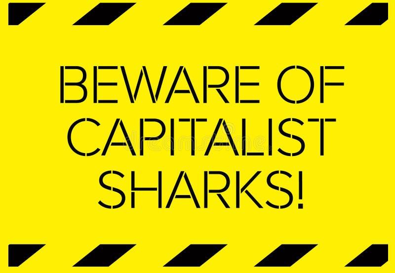 Ono wystrzega się kapitalistyczny rekinu znak ostrzegawczy ilustracja wektor