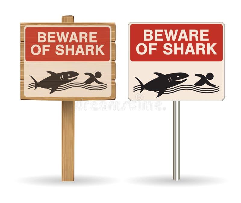 Ono wystrzega się rekinu znak na białym tle ilustracji