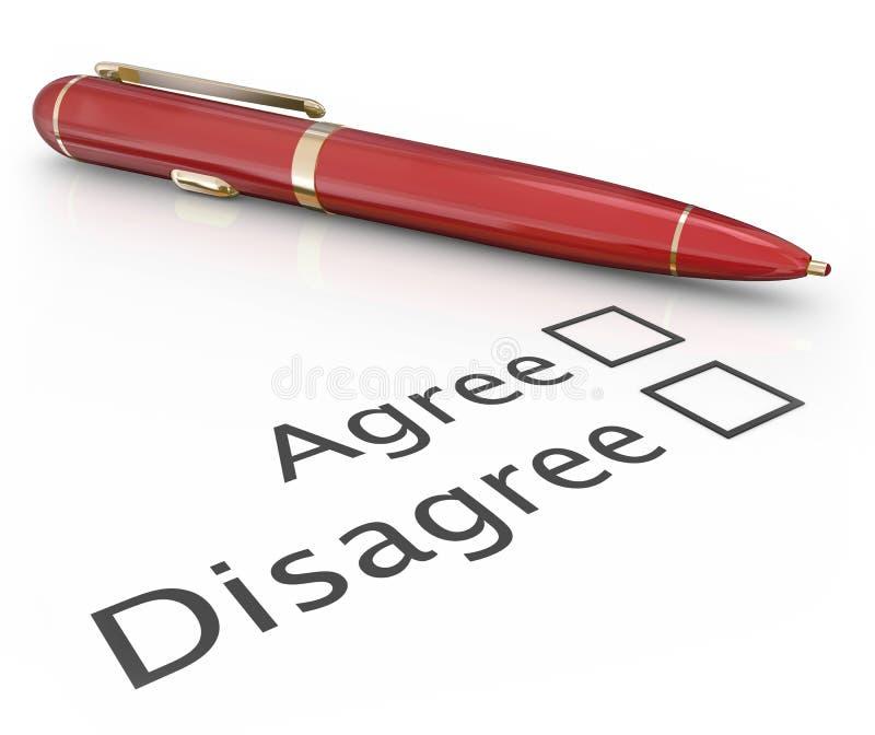 Ono zgadza się Nie zgadzać się pióro Głosuje odpowiedź Wybiera Tak Żadny zatwierdzenie Disapp ilustracja wektor