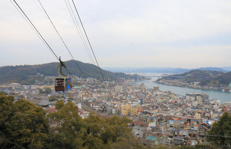 Onomichi cityscape in Hiroshima Japan. Onomichi is a historical city with many temples and small alleys royalty free stock photos