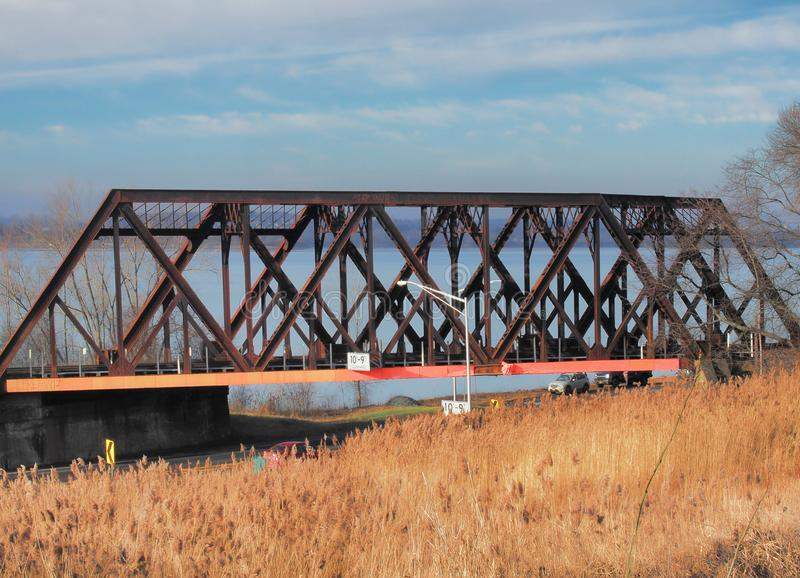 Onondaga See-Alleeneisenbahnbrücke stockfoto
