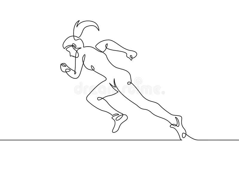 Ononderbroken de getrokken agent van het lijnmeisje vector illustratie