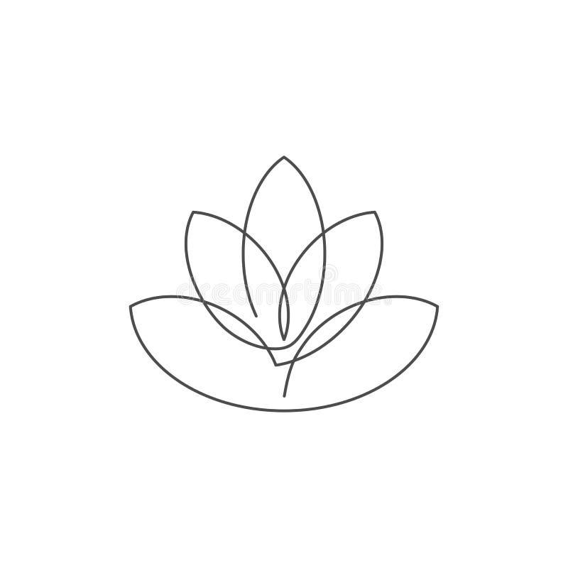 Ononderbroken de lijn vectorillustratie van de bloemlotusbloem met editable slag stock illustratie