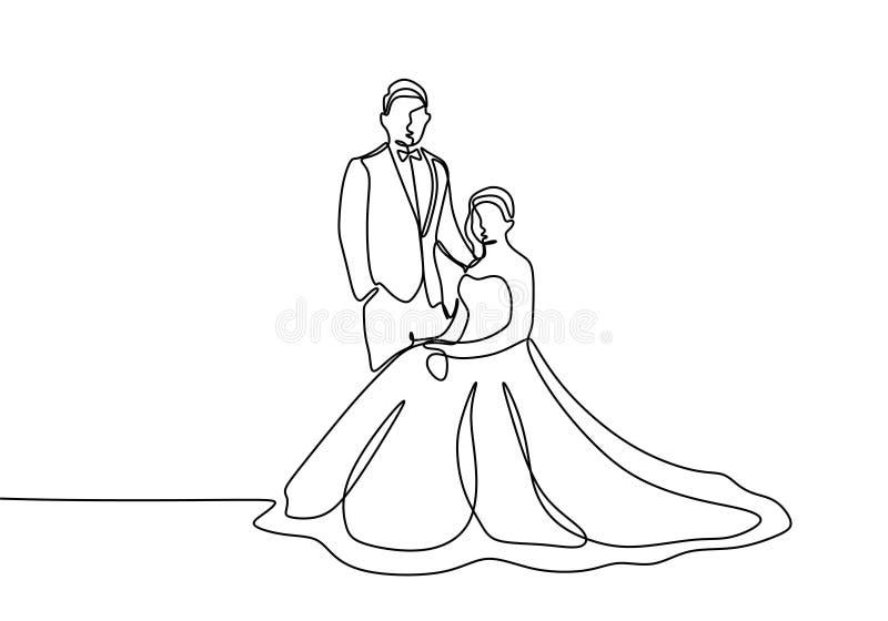 Ononderbroken de lijntekening van de huwelijkskleding van paar in liefde royalty-vrije illustratie