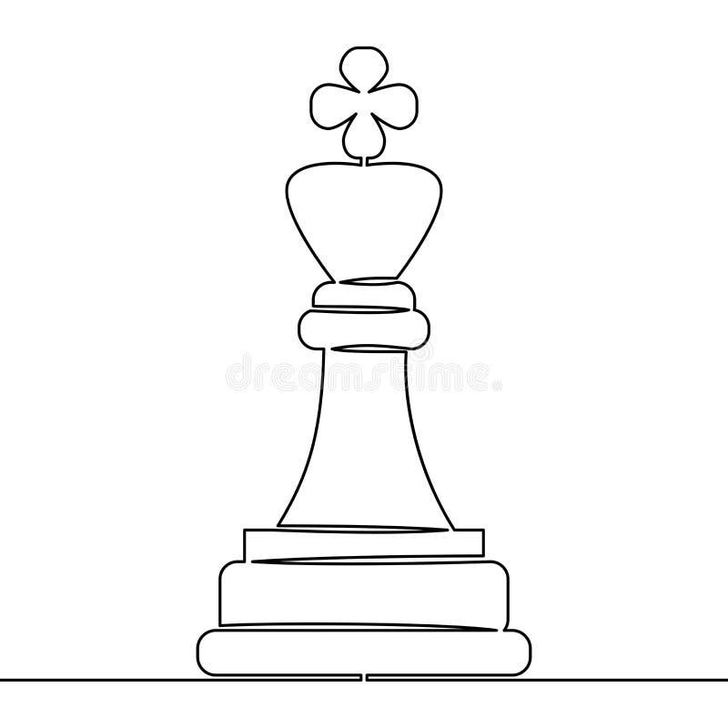 Ononderbroken de schaakstukkenkoning Vector van de lijntekening vector illustratie
