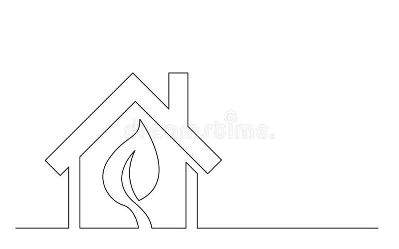 Ononderbroken de schetstekening van het lijnconcept van het groene symbool van het energiehuis stock illustratie