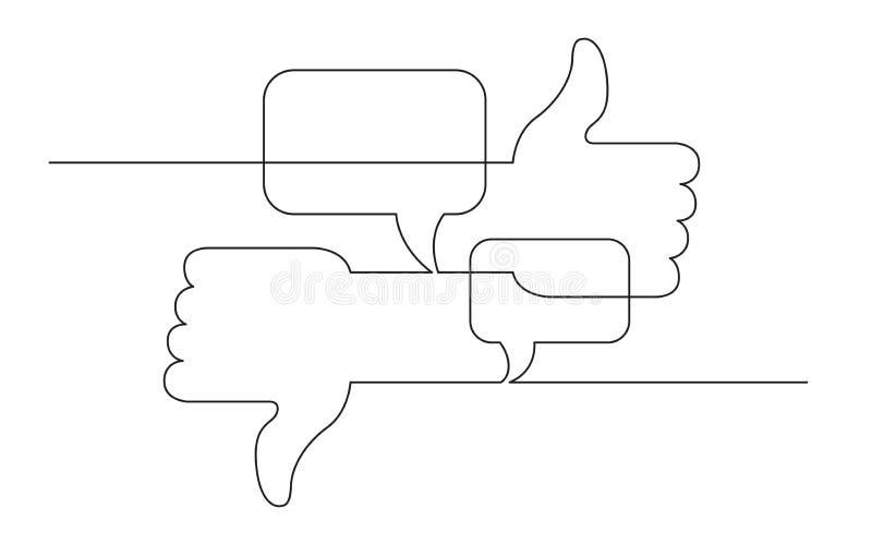 Ononderbroken de schetstekening van het lijnconcept van sociale media als, afkeer en adviezensymbolen royalty-vrije illustratie