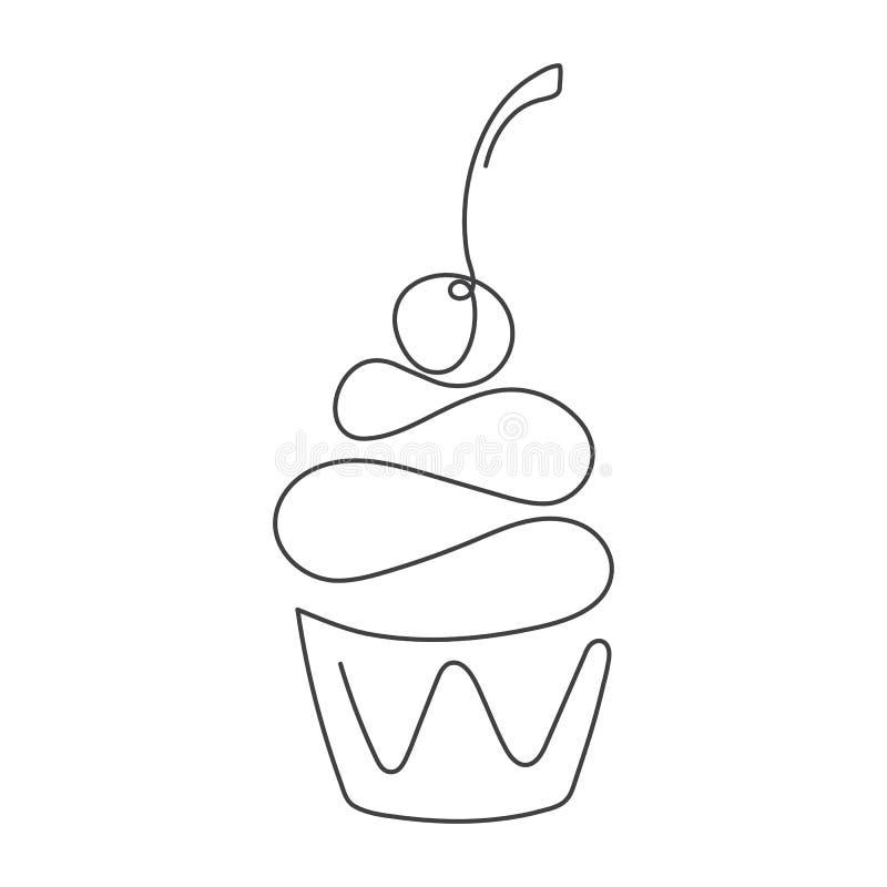 Ononderbroken die lijn cupcake met kers op bovenkant op witte achtergrond wordt geïsoleerd Vector illustratie stock illustratie