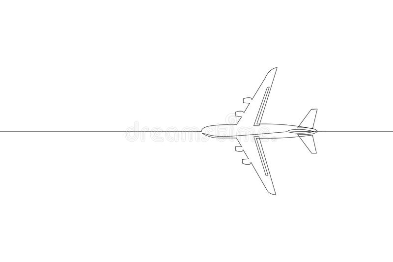 Ononderbroken enkel van het de passagiersvliegtuig van de lijnkunst de reisconcept Snel vliegend aan de linker duidelijke witte h vector illustratie