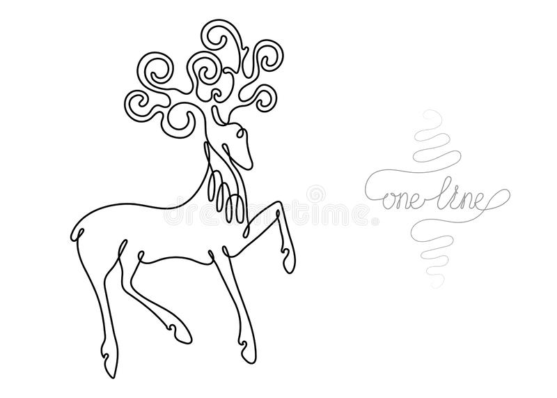 Ononderbroken het dier van de tekeningsherten van de lijnkunst royalty-vrije illustratie