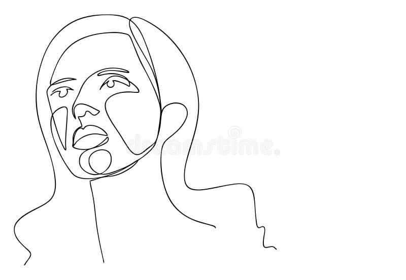 Ononderbroken lijn, het trekken van vastgestelde gezichten en kapsel, manierconcept, de minimalistische, vectorillustratie van de stock illustratie