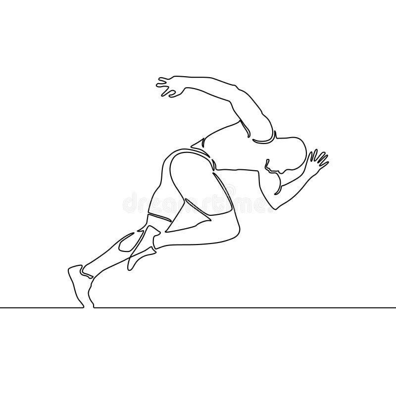Ononderbroken lijn lopende mens, begin van het lopen Vector illustratie royalty-vrije illustratie