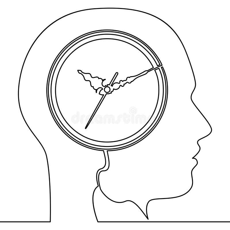 Ononderbroken lijn Menselijk hoofd met klokpictogram stock illustratie